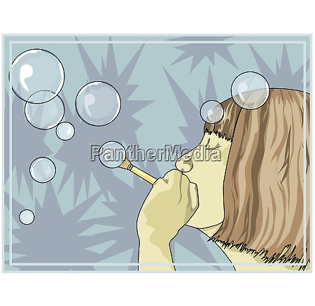 girl blowing bubbles illustration
