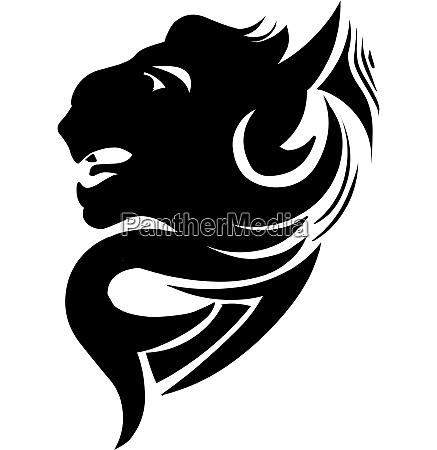 panther head tattoo design vintage engraving