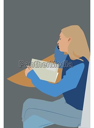 girl reading book illustration vector on