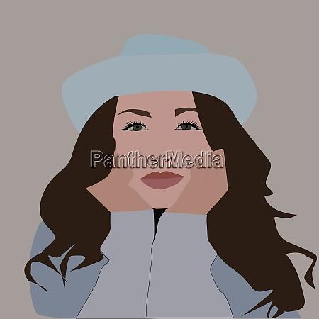 girl in white illustration vector on