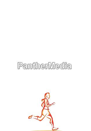 woman running illustration