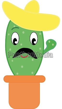 cactus with hat illustration vector on