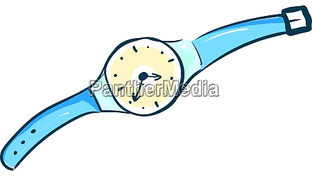 blue wristwatch illustration vector on white