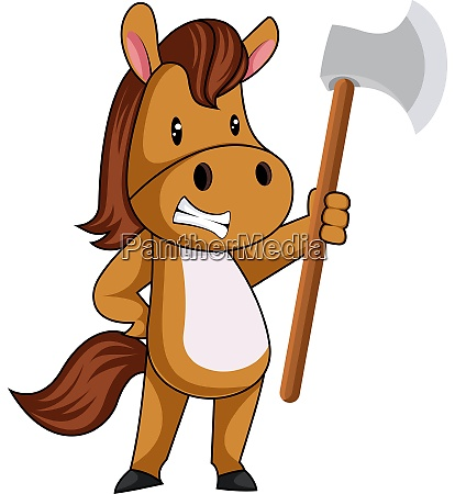 horse with axe illustration vector on
