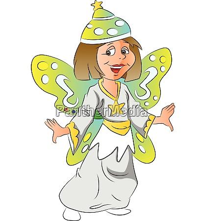 vector of girl in fairy costume