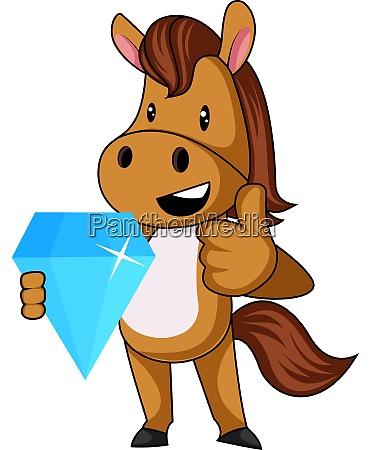 horse with diamond illustration vector on