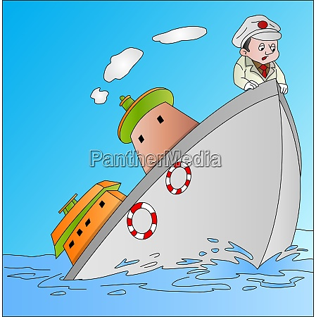 ship sinking with captain illustration