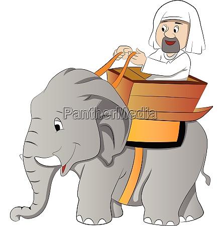 elephant ride illustration