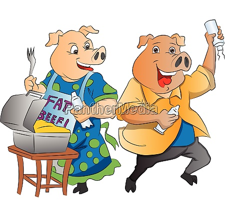 two pigs illustration
