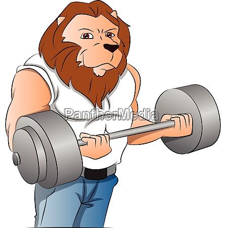 half man half lion bodybuilder illustration
