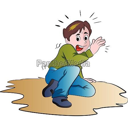 terrified boy illustration