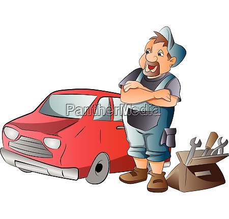 car mechanic illustration