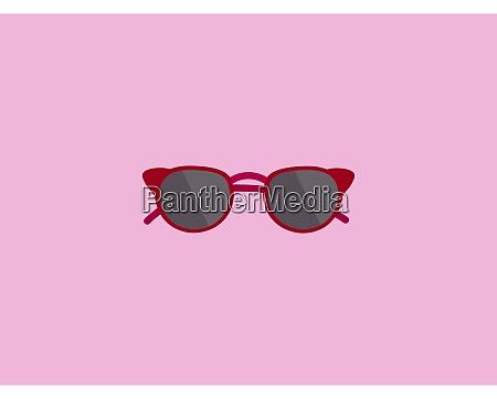 red sunglasses illustration vector on white
