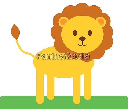 cute lion illustration vector on white