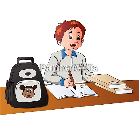 vector of schoolboy studying