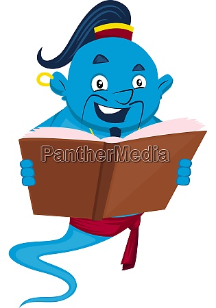 genie with book illustration vector on