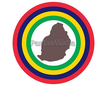 landkarte von mauritius auf hintergrund mit