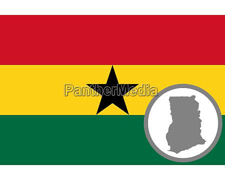 fahne und landkarte von ghana