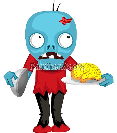 zombie with brain illustration vector on