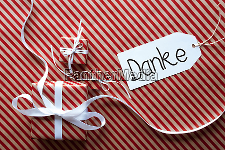 three gifts wrapping paper label danke