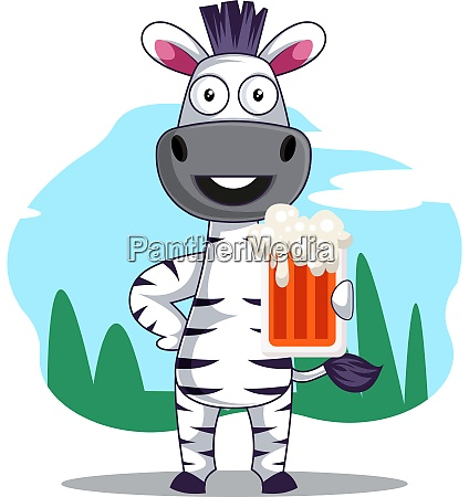 zebra with beer illustration vector on
