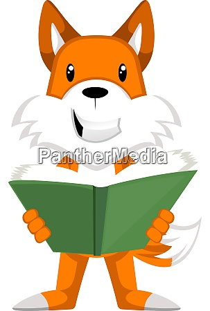 fox reading book illustration vector on