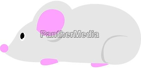 white mouse illustration vector on white