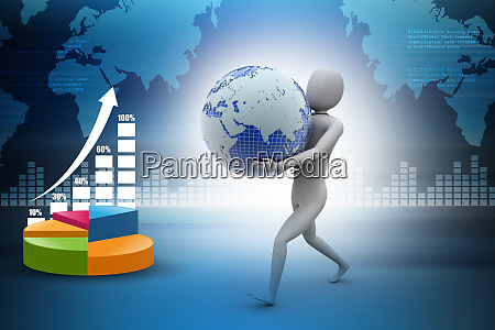 3d business man holding globe in