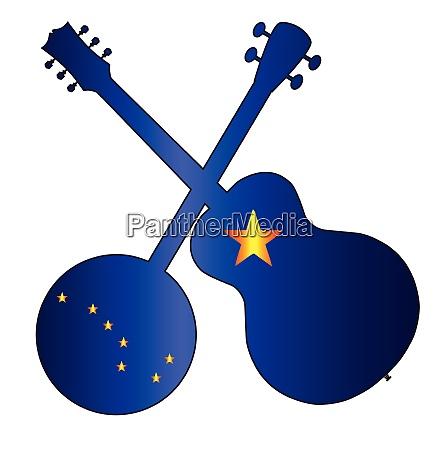 alaska state flag banjo and guitar