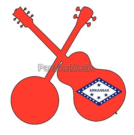 arkansas state flag banjo and guitar
