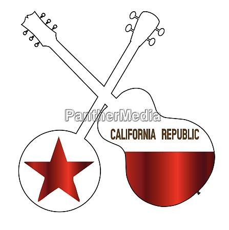 california state flag banjo and guitar