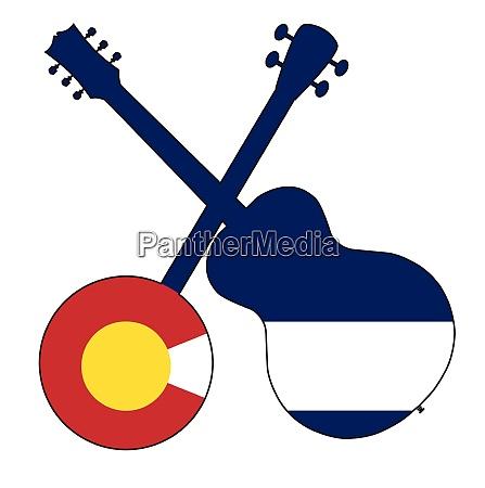 colorado flag banjo and guitar silhouette
