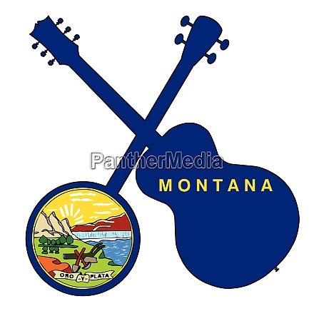 montana state flag banjo and guitar
