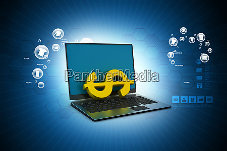 laptop with dollar in color background