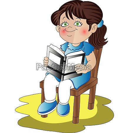 vector of girl holding her textbook