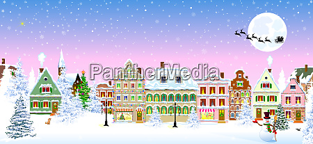 houses snow snowflake winter night christmas