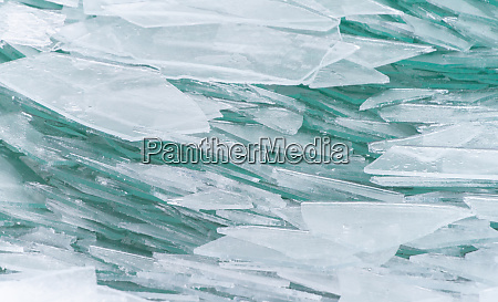 broken ice on lake balaton in