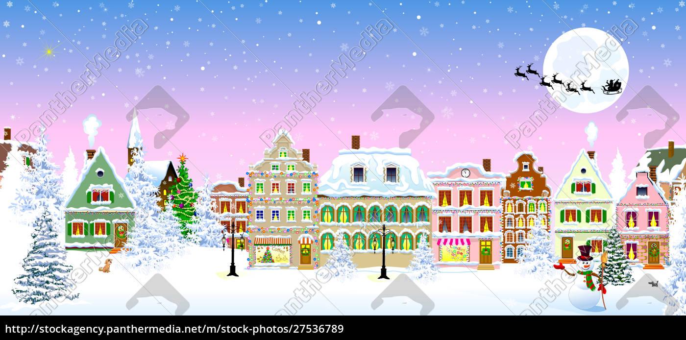 houses, snow, snowflake, winter, night, christmas - 27536789