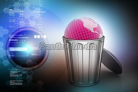globe in trash bin