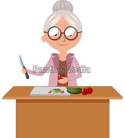 granny cutting food illustration vector on