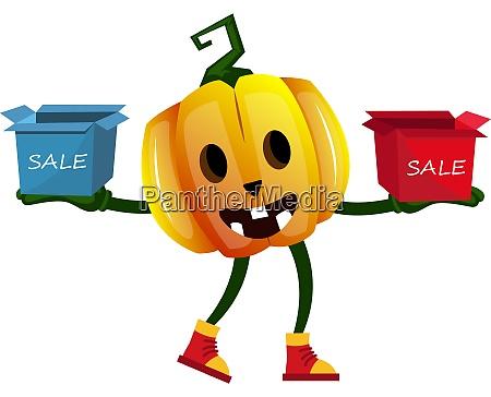 pumpkin with sale box illustration vector