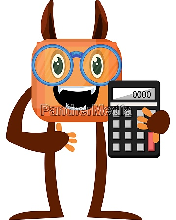 monster with calculator illustration vector on