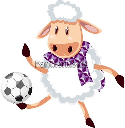 sheep with football illustration vector on