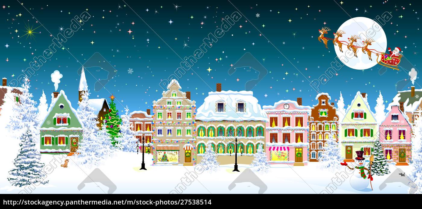houses, snow, christmas, santa, snowman - 27538514