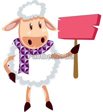 sheep with pink note illustration vector