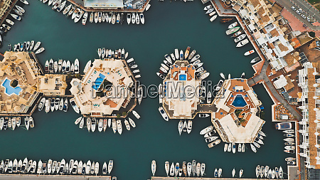 aerial view of boats in beautiful