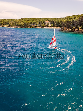 aerial view of sailing boat near