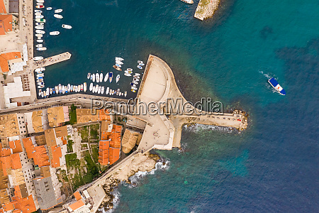 aerial view of boat sailing near