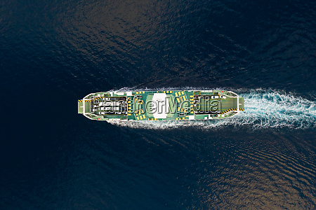 aerial view of a big ferry