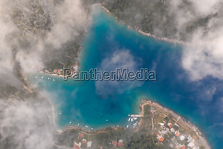 aerial view above the clouds of